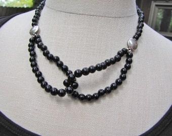 Obsidian Loop, Sterling Silver Necklace
