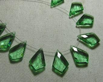 4 Matched Pair - AAAA - High Quality Gorgeous GREEN AMETHYST colour Quartz Fancy Tie Shape Briolett Super Sparkle Huge size - 12x18 mm