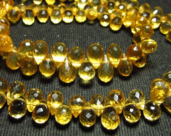 8 inches Strand - AAA - High Quality Natural Golden CITRINE - Faceted Tear drops Briolett super Sparkle size 5 - 9 mm Long