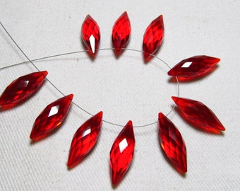 Brand New - 5 Matched Pairs - Red Fire Quartz - Faceted Dew Drops Briolettes amazing Gorgeous sparkle Huge Size 7x20 mm
