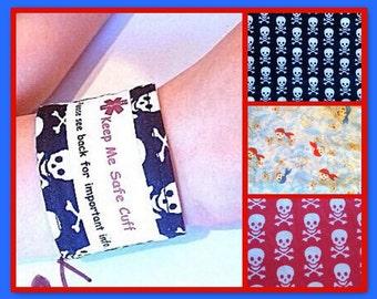 Kids Custom Safety ID Medical Alert Wristband Skull Patterns