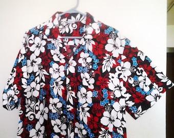Vintage Palmwave Surf Hawaiian shirt 1980s Cotton flowers hawaii size Large Men's