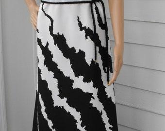 Black White Mod Dress Hippie Print Vintage 70s Sleeveless Leslie Fay S M