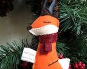 Sleepy Little Fox Handmade Felt Ornament - Red Scarf