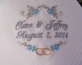 Wedding Handkerchiefs - Set of 2 - Embroidered - Wedding Gift - Simply Sweet Hankies