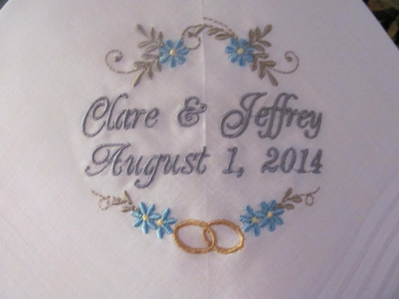 Wedding handkerchiefs set of embroidered gift