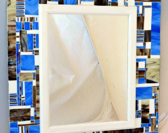 Stained Glass Mosaic Mirror/ Blue/ Brown/ White