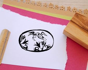 Minoan Inspired Lilies and Swallows Olive Wood Stamp