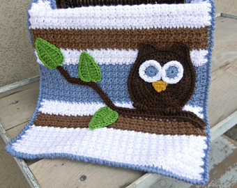 Owl Baby Blanket Lovey Size Boy Baby Shower Gift Blue Brown Ready to Ship