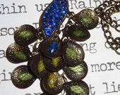 Long Peacock Necklace, Peacock Pendant Necklace, Blue Peacock Necklace, Green Peacock Necklace