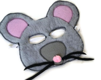 Mouse Mask, Rat Mask, Door Mouse, Dress Up, Farm Animal Birthday Party Favor, Children's Halloween Costume, Adult Mask