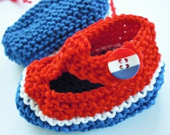 Patriotic USA Croatia France red white blue baby t bar shoes - 0-3 months - great new baby gift  - americana