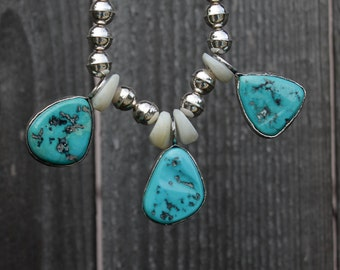 Turquoise and Sterling Silver Beaded Necklace, Southwestern Jewelry,  Ready to Ship