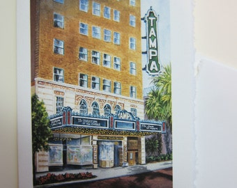 Historical Tampa Theatre in Tampa Florida 5 x 7 note card by watercolorsNmore