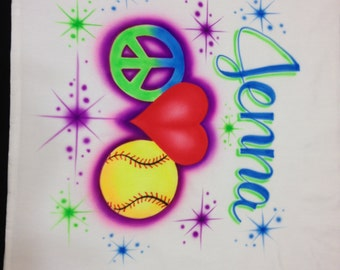 Airbrushed  Peace Love & Softball Pillowcase Personalized with Name Airbrush Pillow Case