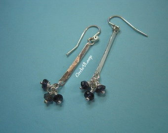 Iolite cluster stones on a bar sterling silver earrings