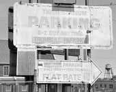 Black and White Photography Print of the Detroit Tiger Stadium Baseball Parking Sign