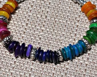 Rainbow Color Block MOP Chip Bracelet jewelry under 25