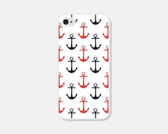 Anchor iPhone Case Anchor iPhone 4 Case Anchor iPhone 5 Case Anchor iPhone 5c Case Anchor iPhone 5s Case Nautical Red Blue Anchor Phone Case