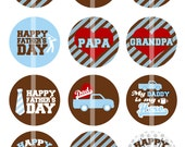 Fathers Day - 1 Inch Round - Digital Collage Sheet for making Bottle Cap Pendants,  Cupcake toppers, and more - Instant Download