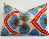 Sukan / SALE Hand Woven Silk Velvet Ikat Pillow Cover - ikat throw pillow - ikat lumbar pillow - ikat velvet pillow - red beige blue green