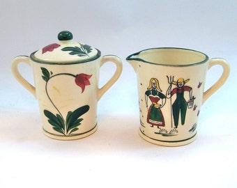 Vintage Fred Roberts Folk Art Cream & Sugar