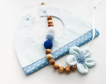 Baby Shower Gift Set: Blue Nursing Necklace/Teething and Baby Bib Made in Israel by CasaDeGato