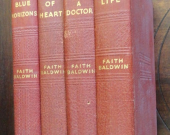 """Four 1940s  Faith Baldwin Romance Novels. Red Book Collection """"Change of Heart"""" """"He Married A Doctor"""" """"Breath Of Life"""" """"Blue Horizon"""""""