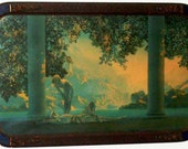 Vintage 1920's Maxfield Parrish Daybreak Print in Large Art Deco Frame 33 x 21