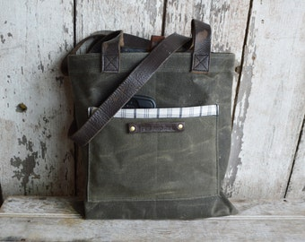 Reader in Moss, Waxed Canvas Tote Bag, Shoulder Bag, Handbag, Purse, Book Bag, Small bag, Minimal, Book Bag, WWII Leather Straps, For Her