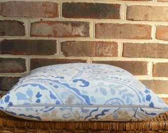 SALE ~ Decorative Pillow: 18 X 18 Paisley Pillow Cover in Shades of  Blue and Light Taupe