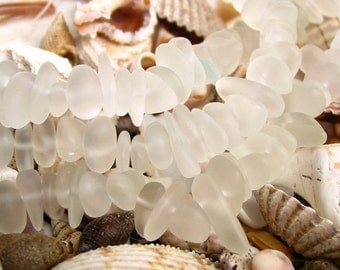 "8"" WHITE clear small 6mm 9mm chip pebble sea beach velvet glass beads frosted recycled"