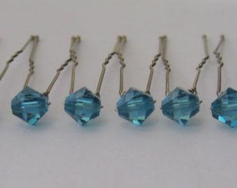 Indicolite Bridal Hair Pins, Wedding Hair Pins, Crystal Hair Pins, Crystal Bobby Pins, Swarovski Hair Pins, Veil Hair Pins - Set of 12 6mm