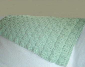 Baby KNITTING PATTERN - Basketweave Baby Blanket in PDF