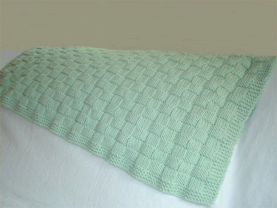 Knitting Pattern For Baby Blanket With Name : KNITTING PATTERN Basketweave Baby Blanket in PDF