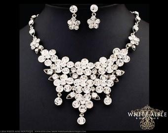 Bridal Jewelry Set, Crystal Statement Necklace Earrings, Vintage Style Bridal Necklace, Bridal Earrings, Necklace Set