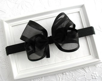 Black Bow Headband, Sheer Elegance Baby Headband, Black Satin Organza Large Bow Headband, Infants, Babies Special Occasion Hair Accessories