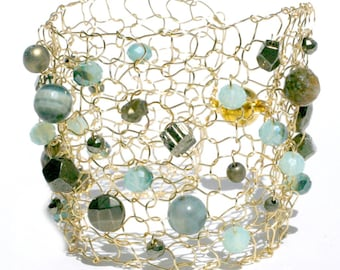 Gold pyrite bracelet pyrite jewelry gemstone jewelry beaded bracelet seafom green agate ocean resort wear jewelry aqua blue cuff