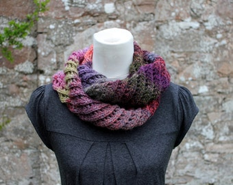 SCARF knitted infinity - Purple haze diagonal lace scarf, womens knitwear UK, gift for her