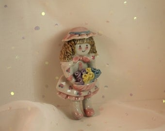 Porcelain Girl Doll Brooch Flowers Sun Hat & Pinafore Country Kid