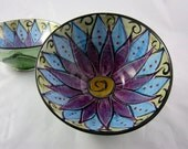 Ceramic Serving Bowl Clay Majolica Pottery Kitchen Purple Lotus Flower Medium - ClayLickCreekPottery