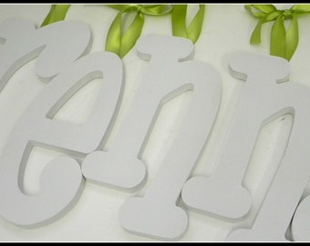8 TEN INCH SOLID Painted  Wooden Wall Letters -Set of Eight 10 inch letters in Your choice of font and color