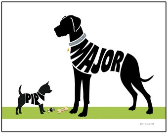 Personalized Great Dane and Chihuahua Silhouette Print, Shorthaired or Longhaired Chihuahua Gift , Unframed 11x14 Dog Art