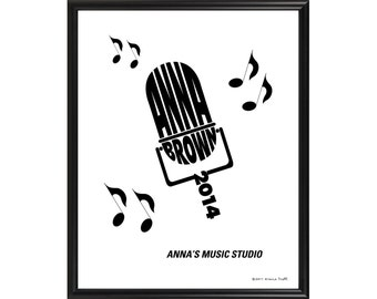 Personalized Music Microphone Silhouette Print, Framed 8x10 Typeography Art, Gift for Musician