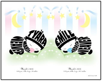 Personalized Twin Babies Silhouette Print, Fraternal or Identical Twin Gift - Unframed 11x14 Name Art