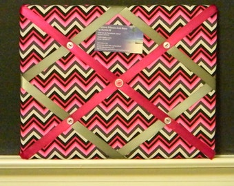 11 x 14 Black/White/Pink/Grey Chevron Memory Board