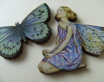 2, Brooches, wood, fairies, woodland, lilac and blue, butterfly, fairy, by NewellsJewels on etsy