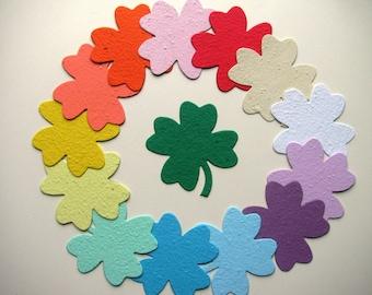 175 Seed Paper Four Leaf Clovers/ Shamrocks- just shapes