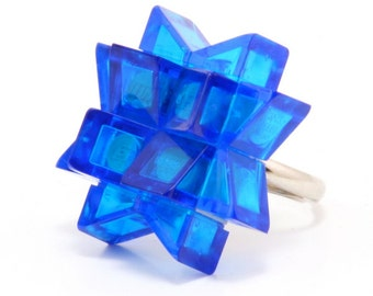 Blue star ring made with LEGO® bricks