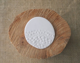SALE * Porcelain Jewellery White Lace Ceramic Brooch by Mrs Peterson Pottery